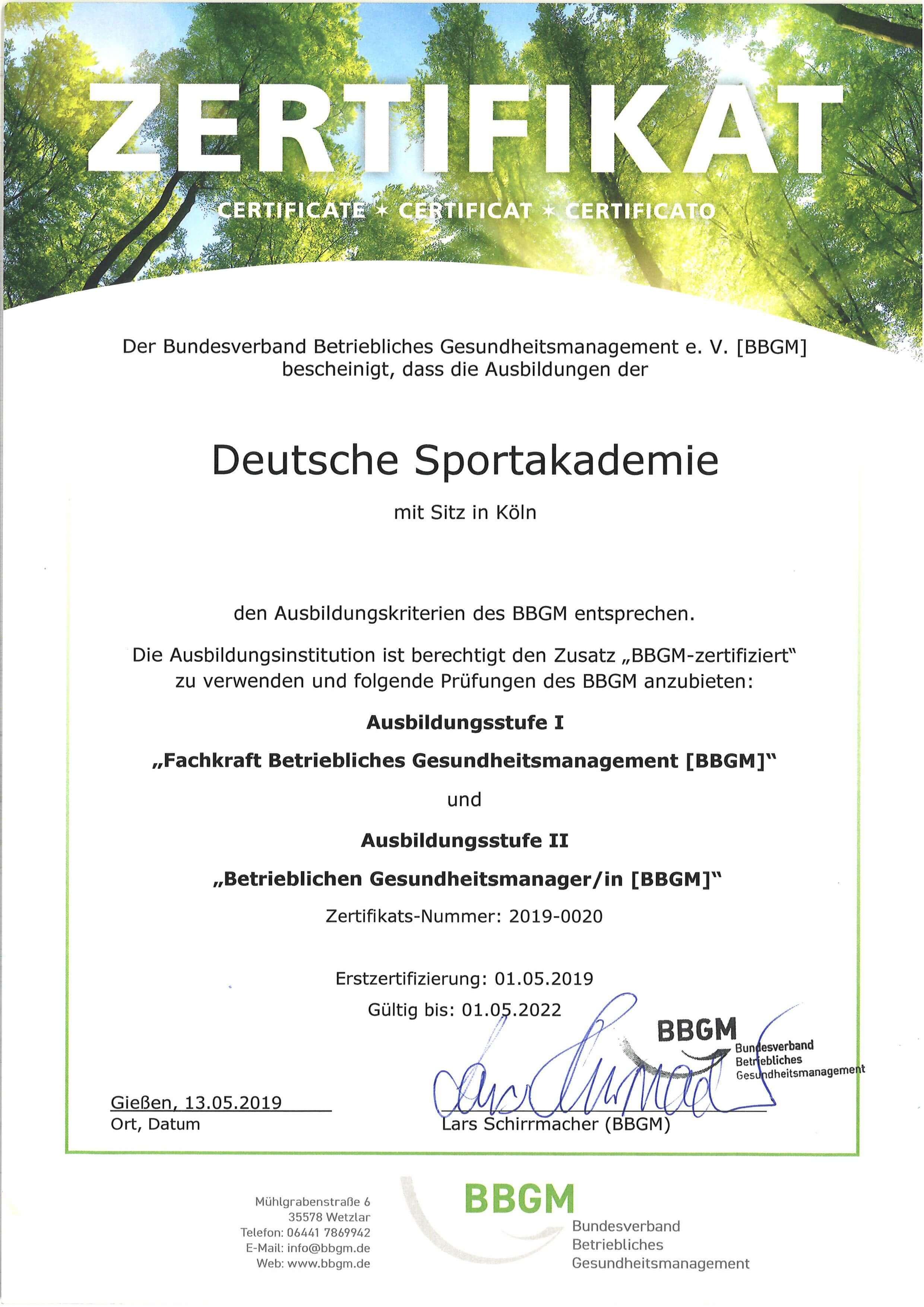 Zertifikat BBGM Deutsche Sportakademie